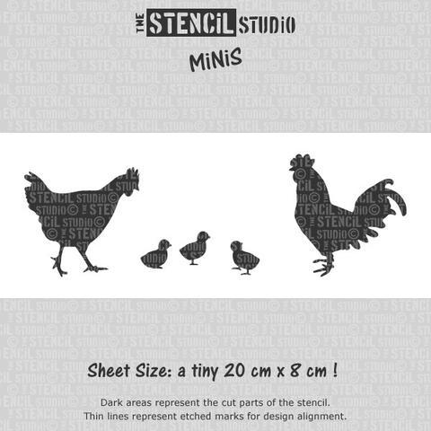 Reusable Stencil MiNiS - Chickens Stencil