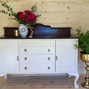 Buffet Sideboard in Light Cream with Walnut Top