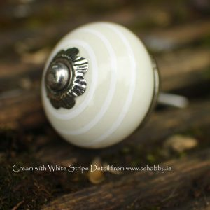 White Ceramic Drawer Knob with button detai