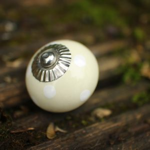 Cream Ceramic Knob with White Dot Detail