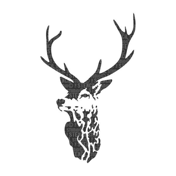 Highland Stags Head Stencil