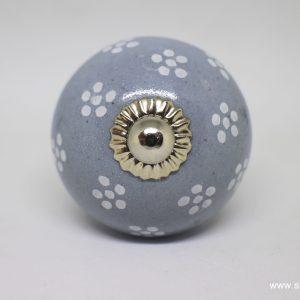 KOH00015 Round Grey Knob With Flower Pattern