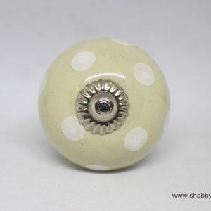 KOH00051 Pale Cream Knob with White Polka Dots